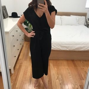 Anthropologie Black Tie Waist Jumpsuit in S